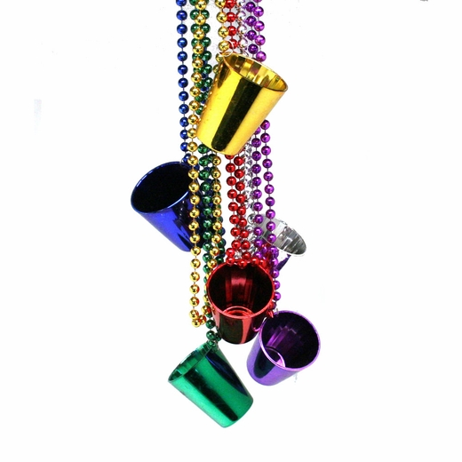 Metallic Mardi Gras Shot Glass Bead Necklaces