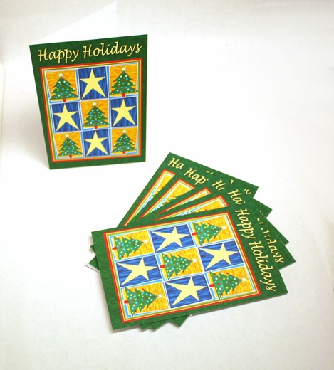 Happy Holidays Trees And Stars Cards