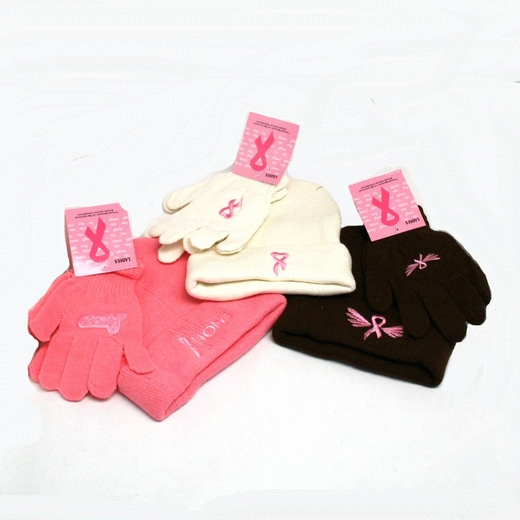 Pink Ribbon Winter Hat And Gloves Set