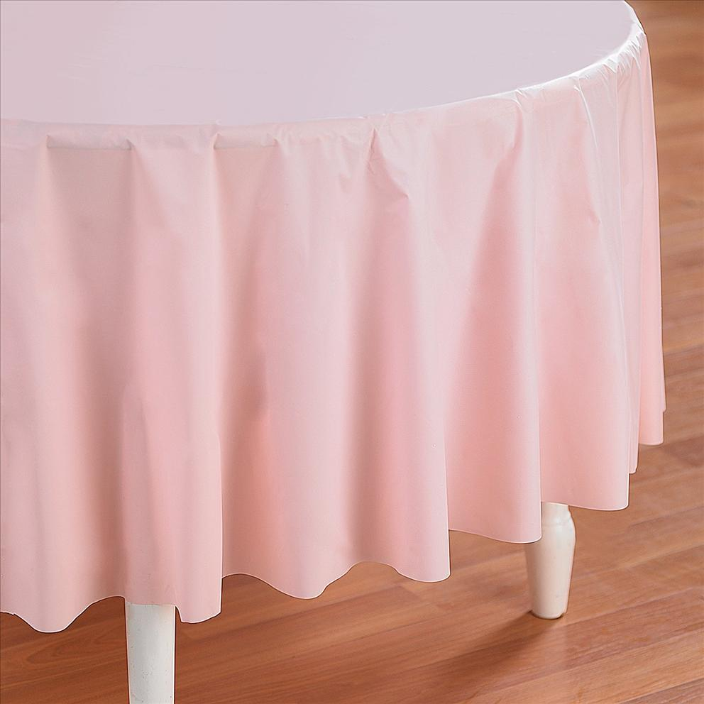 Pink Round Table.Pink Plastic Table Cover Round