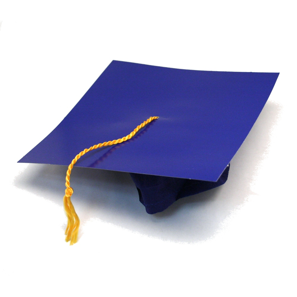 blue cardboard graduation caps
