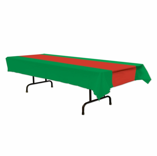 Red And Green Plastic Table Cover - Rectangle
