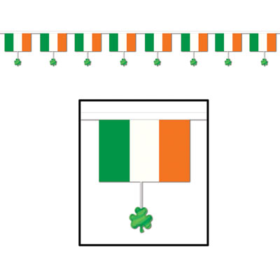 Irish Flags And Shamrocks Banner