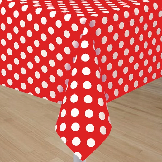 Red Plastic Table Cover With White Polka Dots Rectangle