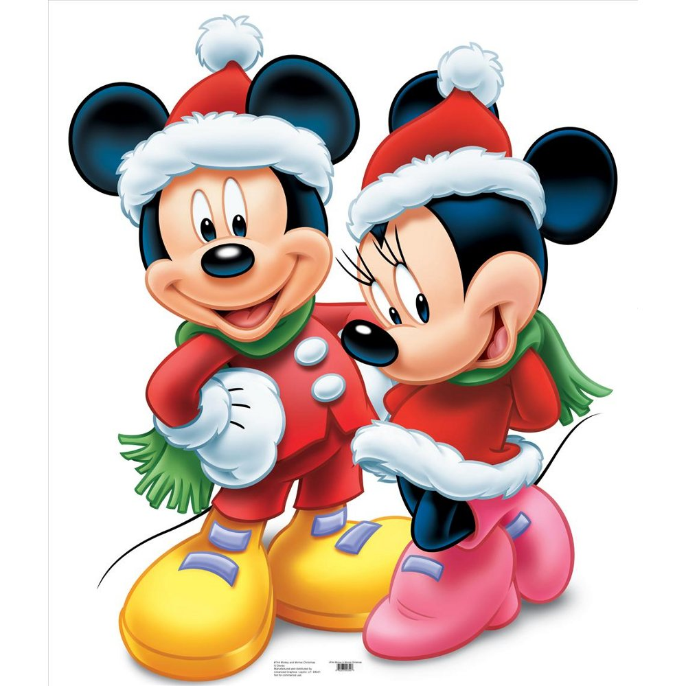 Christmas Stand In Cutouts.Mickey And Minnie Christmas Lifesized Standup