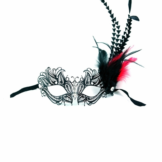 Black Venetian Mask With Jewel Nose-Red/Black Feathers
