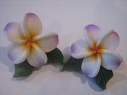 Hawaiian Plumeria Fimo Post Earring w/ Leaves-White w/ Purple Tips & Yellow Center