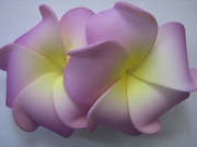 "2 "" Inch Curvy Petals Plumeria Flower Hair Clip Purple w/ Yellow Center"