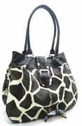 GIRAFFE PRINT BUCKLE FLAP HOBO
