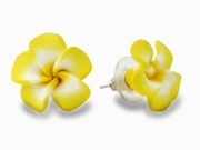 "Hawaiian Plumeria Fimo Post Earring Yellow 0.75"" inch"