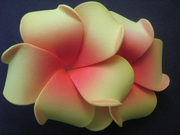 "2 "" Inch Curvy Petals Plumeria Flower Hair Clip Red w/ Yellow Tips"