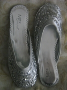 SILVER SEQUINED MULES FLATS