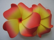 "2 "" Inch Curvy Petals Plumeria Flower Hair Clip Yellow w/ Red Tips"