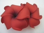 "2 "" Inch Curvy Petals Plumeria Flower Hair Clip  Red w/ Black Hub"