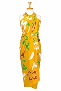 Hawaiian Print Floral Sarong-Yellow, Green, & Caramel