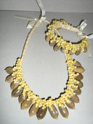 HAWAIIAN SHELL NECKLACE AND BRACELET ON LAUHALA STRAND