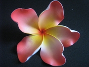 "6 "" Crinkled  Petals PLUMERIA FLOWER PICK- Pink w/ Yellow Center"