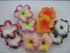 "2 "" Inch Curvy Petals Plumeria Flower Hair Clip White w/ Fushia Tips & Green Center"