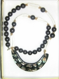 WOMEN'S FASHION MOTHER OF PEARL PUCCA  ABALONE SHELL NECKLACE
