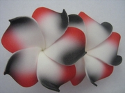 "2 "" Inch Curvy Petals Plumeria Flower Hair Clip White w/ Red & Black Tips"