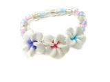 Fimo  Plumeria Flowers Elastic Toe Hawaiian Ring Tri Color