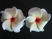 2 pc Mini Petals Plumeria Flower Clip Set  White Yellow Center & Red Hub