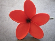"3"" STAR POINTED PETAL PLUMERIA FLOWER HAIR PICK Red"