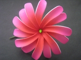 "4"" DOUBLE PETALS TIARE FLOWER HAIR  PICK-Sherbet Pink w/ Red Center"