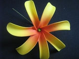 6 Inch Tiare Flower Hair Pick-Yellow w/ Red Center
