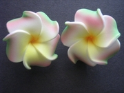 2 pc Mini Petals Plumeria Flower Clip Set -White w/ Red/Green Tips & Yellow Center