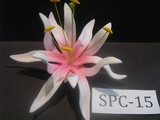 "4.3""  SPIDER LILY DOUBLE Curved PETALS FLOWER PICK-White w/ Pink Center"