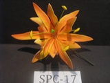 "4.3""  SPIDER LILY DOUBLE Curved PETALS FLOWER PICK-Yellow & Orange Stripes"