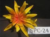 "4.3""  SPIDER LILY DOUBLE Curved PETALS FLOWER PICK-Yellow w/ Red Center"