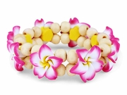 Hawaiian Fimo 8 Flower Stretch Elastic Bracelet Magenta