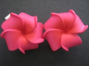 2 pc Mini Petals Plumeria Flower Clip Set  Sherbet Pink