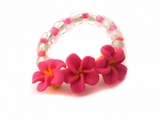 Fimo  Plumeria Flowers Elastic Toe Hawaiian Ring Hot Pink