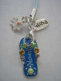 Hawaiian Flip Flop Cell Phone Charm -Blue Slipper w/ Colored Stones