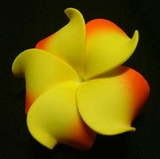 PLUMERIA FLOWER HAIR CLIP Yellow w/ Red Tips
