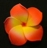 PLUMERIA FLOWER HAIR CLIP Red w/ Yellow Center