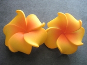 2 pc Mini Petals Plumeria Flower Clip Set  Orange w/ Red Center