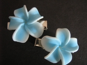 "2 pc Mini Pointed Petals Plumeria Flower Clip Set  Blue White 1.25"" Inch"