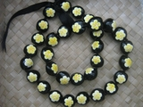 HAWAIIAN KUKUI NUT FLOWER LEI NECKLACE-Handpainted Plumeria Yellow