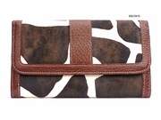 GIRAFFE WALLET WITH CHECKBOOK COVER BROWN TRIM