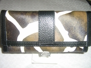 GIRAFFE WALLET WITH CHECKBOOK COVER BLACK TRIM