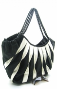 TRENDY BLACK AND WHITE FAUX LEATHER SHOPPER HANDBAG