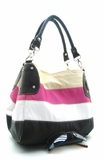 SPRING  STRIPPED FAUX LEATHER BUCKET HANDBAG
