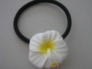 White w/ Yellow Center Hibiscus Pony O Elastic Hair Band