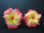 Mini Petals Plumeria Flower Clip Set  Red Yellow
