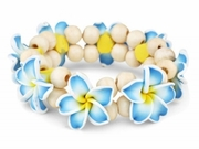 Hawaiian Fimo 8 Flower Stretch Elastic Bracelet Blue