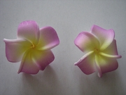 "2 pc Mini Pointed Petals Plumeria Flower Clip Set  Purple Yellow 1.25"" Inch"